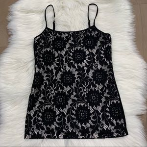 NWOT LOFT Outlet black white lace cami tank S